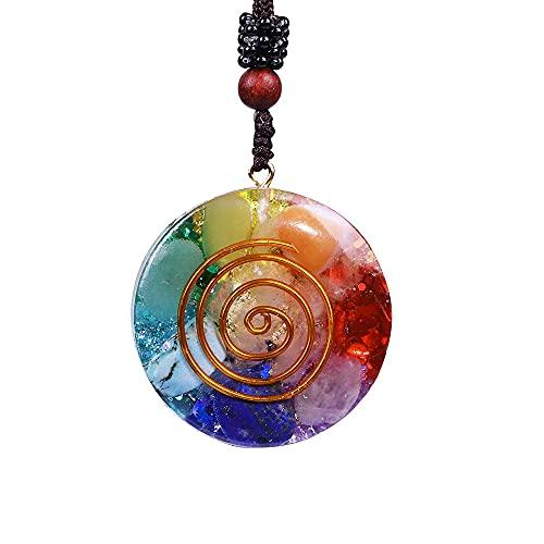 NIUBKLAS Colgante de Piedra Natural de Chakra Mixto Reversible Revitalización Collar de Cristal Que Mejora la relajación