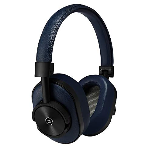 Master & Dynamic MW60-B4 MW60 Wireless Bluetooth Foldable Headphones - Premium Over-The-Ear Headphones - Noise Isolating - Portable, Black Metal/Navy Leather