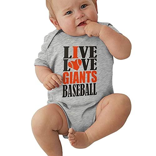 Opahxa5 Live Love Giants Baseball Maglietta a maniche corte in cotone unisex per neonati in jersey 0-24 mesi