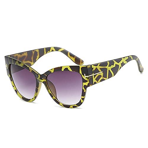 NJJX Gafas De Sol De Ojo De Gato Vintage Para Mujer, Gafas De Sol Negras Para Mujer, Gafas De Sol De Moda, Yelllowleopard-Grey