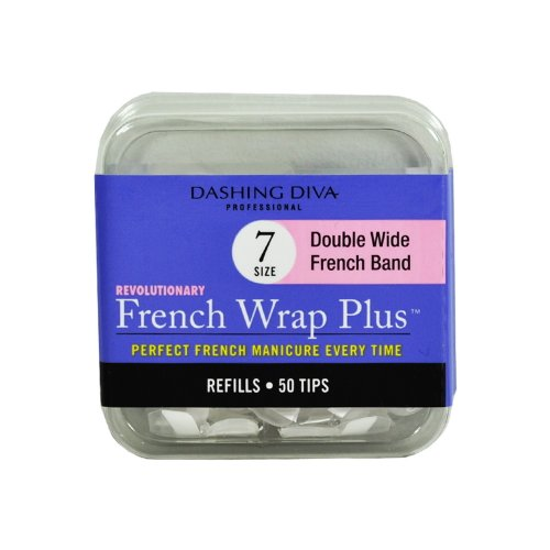 Dashing Diva French Wrap Plus Thick Nail Strips White, Size No.7, 50 Count by Dashing Diva