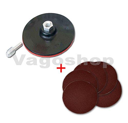 1 x steunplaat 125 mm + gratis 5 slijpschijven 125 mm korrel 220 slijpschijven voor boormachine