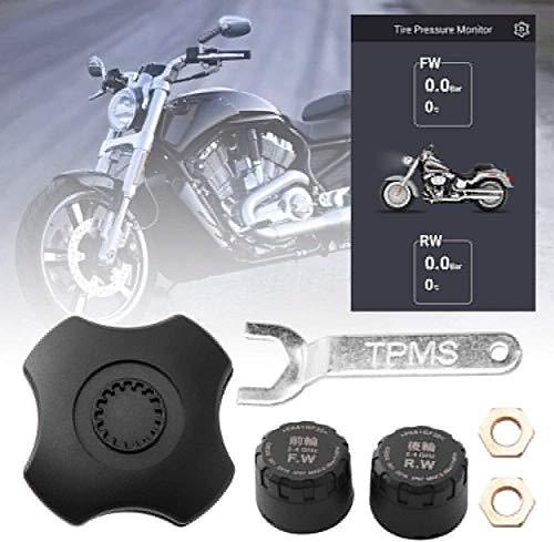 Moto Presión de Neumáticos Monitorización Sensor, Inalámbrico Externo Protección Sensor, TPMS Presión de Neumáticos Sistema de Monitoreo, Bluetooth App, Compatible con Android Ios, 1 Par