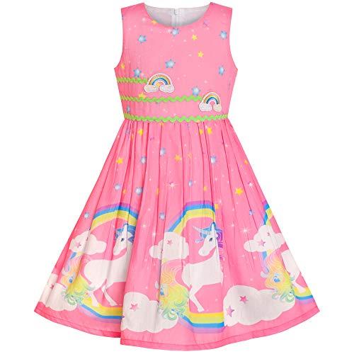 Mädchen Kleid Rosa Einhorn Regenbogen Sommer Trägerkleid Gr. 116-122