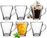 Platinux - Set di 6 bicchieri da cappuccino con manico, 420 ml, in vetro per latte macchiato