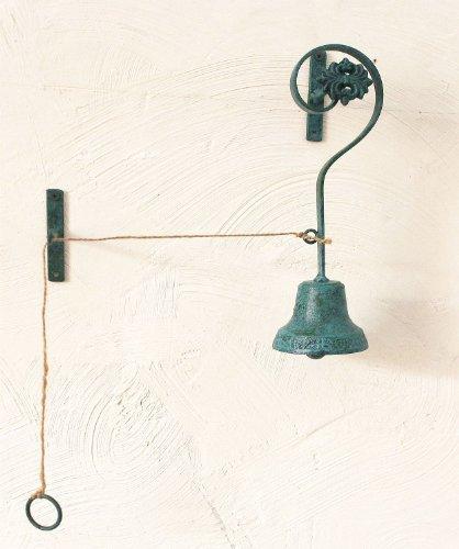 Sonnette cloche cm 28 campanello 78460 en métal avec fil et support vert