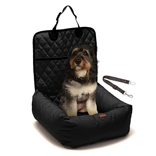 Dog Car Booster Seat - Luxurious 2-in-1 Dog Carseat & Comfy Indoor Lounge Bed for Dogs & Cats - Easy to Install Water Resistant Pet Booster Seat for Car with Pet Seat Belt Leash (Black)