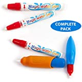VISSETO Aquadoodle Pens Replacement for Drawing Mat | 4 Water Pens for Toddlers and 1 Brush | Aqua Magic Pens | Mess Free | Doodle Pens for All Types of Water Drawing Mats or Books