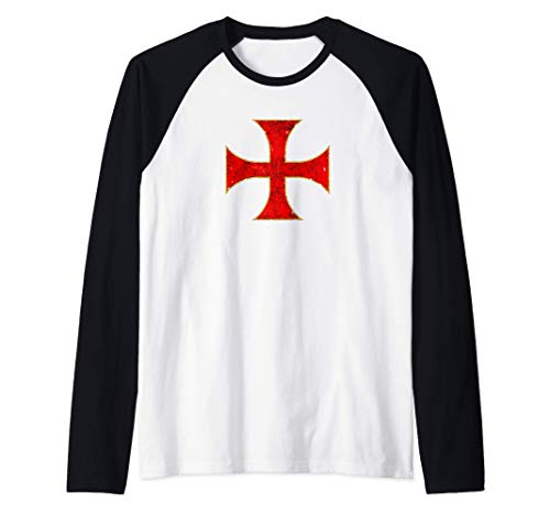Cruz Caballeros Templarios Regalo Cristiano Hombre Mujer Camiseta Manga Raglan