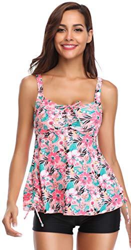SHEKINI Donna Costumi da Bagno Due Pezzi Stampati Floreale Swimdress Tankini Top con Pantaloncini Bikini Imbottito Elegante Regolabile Halter Costumi da Spiaggia (S, Pesco)