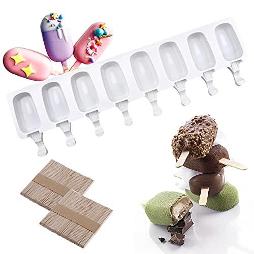 Moldes para Polos/Molde helado/DIY Helado Stick/Chocolate Postre congelado Bandeja,8 celdas,Silicona,con 100 paletas