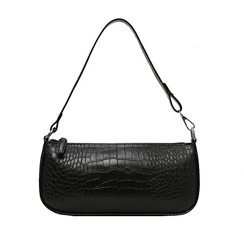 Get The Looks Retro 90's Baguette Shoulder Bag As on Kendall Jenner (Black - Croc Effect)