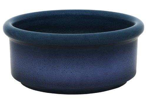 K & K ciotola per bonsai rotonda / fioriera, 25x11 cm, blu-fiammata, realizzata in gres porcellanato resistente al gelo