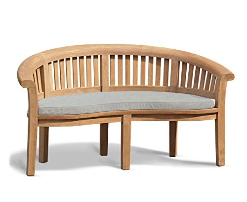 Jati Deluxe Teak Garden Banana Bench with Cushion – 3-Seater, Grade-A, Delivered Ready Assembled (Grey)