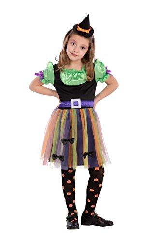 Carnival Toys- Costume Strega per Bimba per Bambini, Multicolore, 104-110 cm, 68733