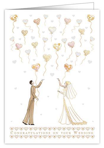 Rustige Mac Classic Extra Grote Bruiloft Wenskaart - Bruiloft Hart Ballonnen Design- Prachtig reliëf met Goud en Zilver folie