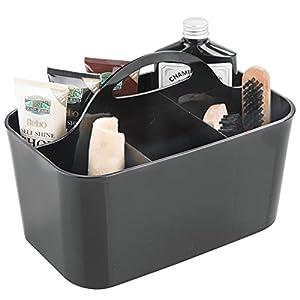 mDesign organizador plástico con 4 compartimentos para sus productos de limpieza de zapatos - Cesta organizadora provista de asa para un cómodo transporte - Color negro