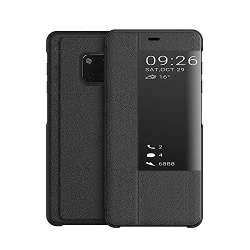 KANSI Compatible con Huawei Mate 20 Pro Funda, Smart View Flip Funda de Cuero + Protector Pantalla - Negro