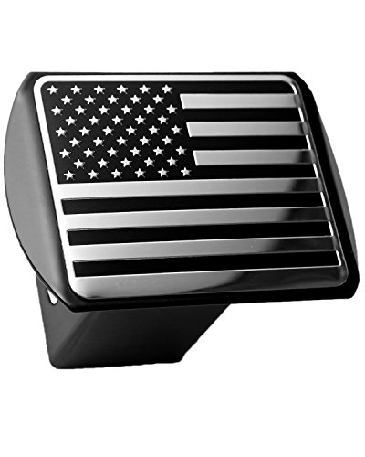 USA US American Flag 3D Chrome Emblem on Black Trailer Metal Hitch Cover Fits 2 Receivers