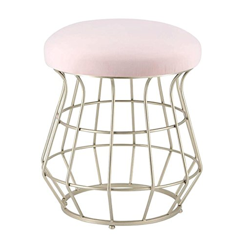 Lounge- & Cocktailsessel Metall Mode Make-up Hocker Champagner Hocker Bein Hocker Esszimmerstuhl Couchtisch Hocker (Farbe : Pink, größe : H45cm)