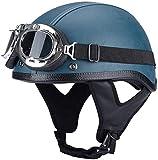 WRMIGN Casco de Motocicleta,Adultos Casco Moto Abierto Retro,con Gafas Casco de Protección de Estilo Antiguo para Moto Scooter Motocicleta Open Face Mitad Casco ECE Certificacion