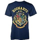 Playlogic International(World) Harry Potter Crest GTS Camiseta Manga Corta, Azul, 40 para Mujer
