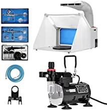 VIVOHOME Professional Airbrushing Combo Set with 1/5 HP Portable Compressor Kit and Model Spray Paint Booth for Tattoo Makeup Shoes Cake Craft Nail Toy Part