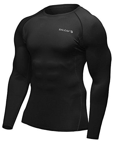 バリーフ(Baleaf) コンプレッション スポーツシャツ メンズ 加圧シャツ 長袖 パワーストレッチ フィットネス ダイエット 吸汗速乾 アンダーウェア トップス インナー トレーニングウエア アクティブ ブラック L