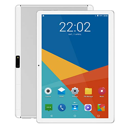 Android Tablet 10 Zoll, 5G Wi-Fi, Octa -Core Prozessor, Android 9.0, 4GB RAM, IPS HD Display, 3G Phablet mit Dual SIM Card Slots, Bluetooth, GPS, 5000 mah Akku, E2 (Silber)