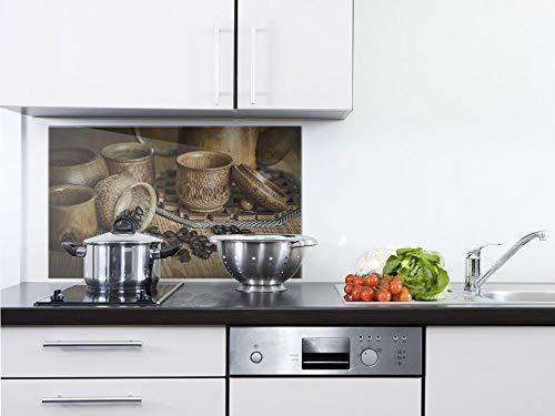 GRAZDesign Herdblende Kaffeebohnen - Glasbilder Kaffee - Küchenrückwand Glas Schönes Motiv / 60x60cm