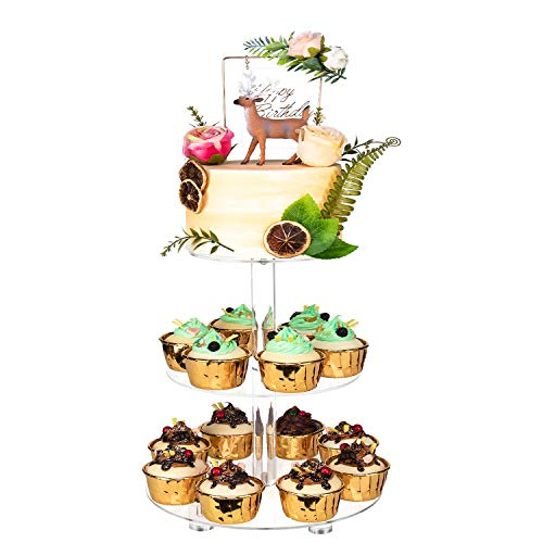"""YestBuy 3 Tier Round Cupcake Stand with Base, Acrylic Cake Stand, Cupcake Tower Stand, Premium Cupcake Holder for 28 Cupcakes, Display for Pastry Wedding Birthday Party (4.7"""" Between 2 Layers)"""