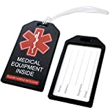 2 Pack - Heavy Duty Medical Equipment Luggage Tags CPAP / BIPAP w/ Plastic Loops - Respiratory Therapy Machine Device Carry On Bag Supplies Identifier Label for Airline Travel by Specialist ID (Black)