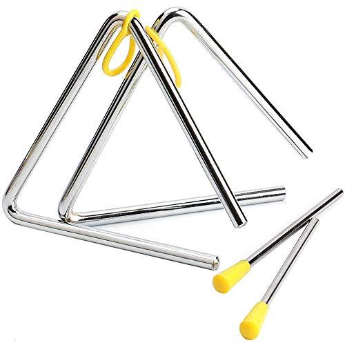 2 Piezas Triángulo Instrumento Musical, 5 Pulgadas Triangulo Percusion Instrumentos Musicales para Percusión y Educación Musical Temprana