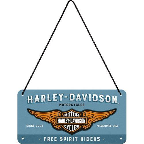 Nostalgic-Art 28023 Harley-Davidson-Logo Blue | Retro Vintage Wand-Dekoration | Tür-Schild |Metall | 10x20 cm Hängeschild, Bunt, 10 x 20 x 0.1 cm