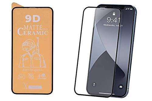 PR Smart® iPhone 12 Pro Max Full Glue 9D Ceramic Film Matte Edge To Edge Full Screen Protector For Apple iPhone 12 Pro Max (Not a Tempered Glass) (Transparent Glass Black Border)