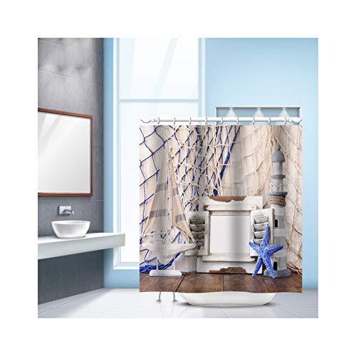 KnSam Duschvorhang mit 12 Vorhanghaken 3D Wasserwürfel Sandstrand Waschbar Anti Schimmel Wasserdicht Badvorhang für Badezimmer Badewanne Stil 2 180 x 180 cm