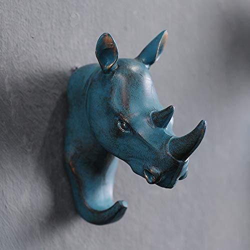Gu3Je Wand An der Wand befestigter Tierkopfschlüssel Kleiderhaken geben lochendes Wohnzimmer frei Nashorn - Bronze