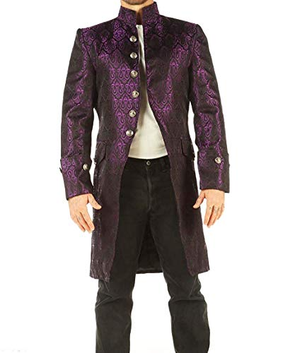 Men's Vintage Coat Jacket Parties Stage Top Wedding SPRR (Purple, XX-Large)