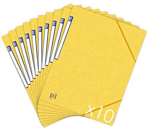 OXFORD TopFile+ Lot de 10 Chemises Cartonnées Sans Rabats avec Elastiques Format A4 Jaune