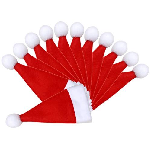 NUOBESTY 16 Stücke Weihnachten Besteckhalter Mini Weihnachtsmütze Besteckbeutel Bestecktasche Weihnachtsmannmützen Kleine Nikolausmützen Gabel Messer Geschirr Tasche Tischdeko