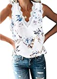 lime flare Women Sexy V Neck Flora Printed Lace Trim Satin Cami Tank Tops Dressy Silk Lacy Camisole Shirt (D# White Flower Eyelash Lace,Small)