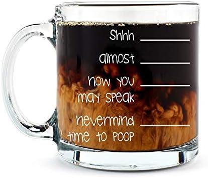 Shh Nevermind Time to Poop Mug Funny Poop Mug 13OZ Glass Coffee Mug Mugs For Women Boss Friend product image