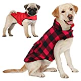 AOFITEE Reversible Dog Cold Weather Coat, Waterproof British Style Plaid Winter Pet Jacket, Warm Cotton Lined Vest Windproof Collar Outdoor Apparel for Small Medium and Large Dogs
