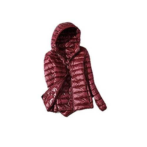 Chaqueta fina ultraligera de talla grande para mujer Otoño Invierno Chaqueta corta delgada con capucha Abrigo de plumón de pato blanco cálido Ropa de abrigo para mujer - Vino tinto Con capucha, XXXL