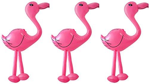 CESTRIAN 3x Gonfiabile Fenicotteri Rosa 64cm Accessori Party a Tema Tropicale Fun Blow Up Toy
