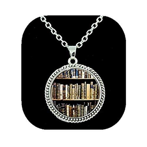 Collar hecho a mano con fondo de biblioteca estilo Vintage para regalo para estudiantes, profesores y bibliotecarios