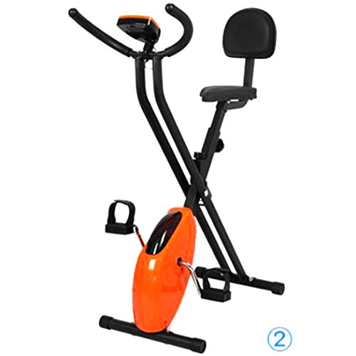 Bicicleta estática plegable Lluo ajustable para interior y exterior. Entrenamiento y ejercicio en casa, naranja, No Backrest