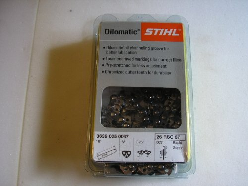 Stihl 3639-005-0067 Chainsaw Full Chisel Saw Chain, 16 inches