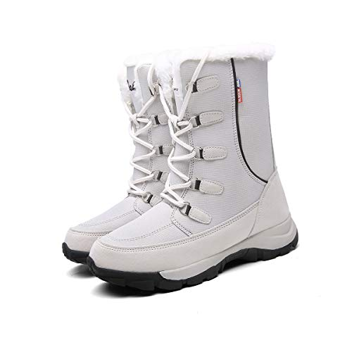 Mujer Botas para Raquetas de Nieve Zapatos de Invierno a Prueba de Agua, Forro y Suela de Goma Isotherm Transpirable y Duradero 36 EU Gris,23 cm talón a los pies
