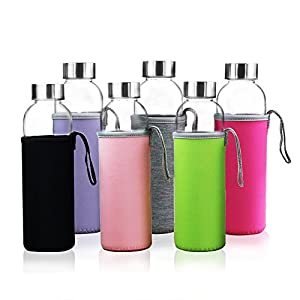 YEBODA Glass Water Bottles 18oz Bottles For Beverage and Juicer Use Stainless Steel Caps - Including Colorful Nylon… |